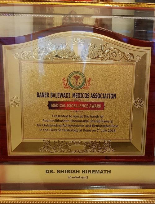 For outstanding achievements and remarkable role in the field of cardiology|Dr Shirish (M.S.) Hiremath - Cardiologist Pune|Shivaji Nagar,Pune